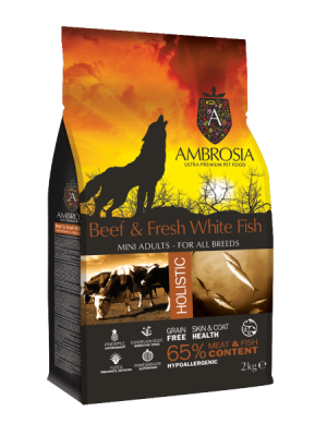 AMBROSIA GRAIN FREE ADULT MINI BEEF & FRESH WHITE FISH 2KG