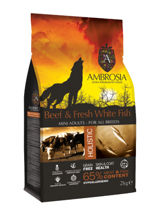 AMBROSIA GRAIN FREE ADULT MINI BEEF & FRESH WHITE FISH 2KG