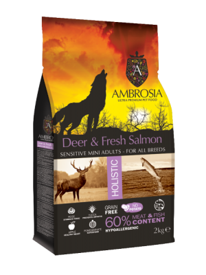 AMBROSIA GRAIN FREE ADULT MINI DEER & FRESH SALMON 2KG