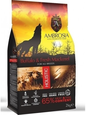 AMBROSIA GRAIN FREE ADULT FRESH BUFFALO & MACKEREL 2KG