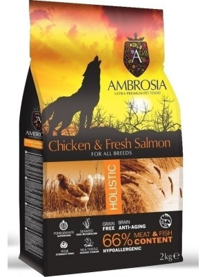 AMBROSIA GRAIN FREE ADULT CHICKEN & FRESH SALMON 2KG