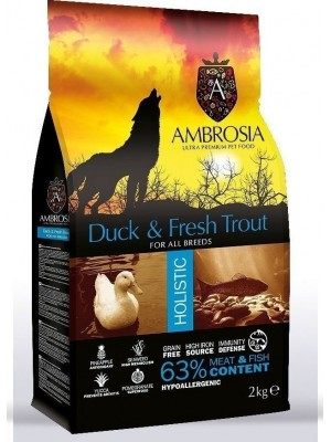 AMBROSIA GRAIN FREE ADULT FRESH TROUT & DUCK 12KG
