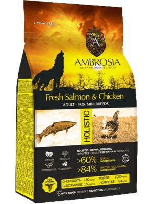 AMBROSIA GRAIN FREE ADULT MINI CHICKEN & SALMON 2KG