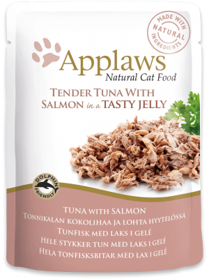 APPLAWS CAT TUNA WITH SALMON IN JELLY 70GR (ΦΑΚΕΛΑΚΙΑ ΜΕ ΤΟΝΟ ΚΑΙ ΣΟΛΟΜΟ ΣΕ ΖΕΛΕ)