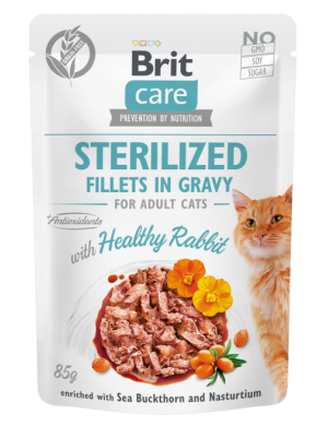 BRIT CARE POUCHES STERILISED WITH RABBIT IN GRAVY 85GR