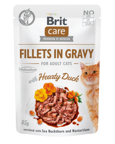 BRIT CARE POUCHES ADULT WITH DUCK IN GRAVY 85GR