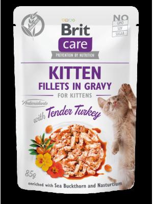 BRIT CARE POUCHES KITTEN  WITH TURKEY IN GRAVY 85GR