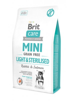 BRIT CARE MINI GRAIN FREE LIGHT & STERILISED 2KG (ΜΕ ΚΟΥΝΕΛΙ & ΣΟΛΟΜΟ)