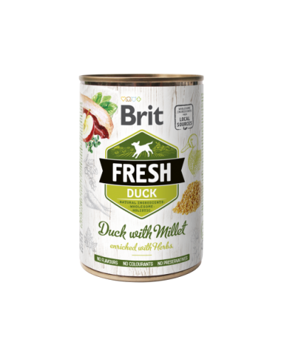 BRIT FRESH DUCK WITH MILLET 400GR (ΠΑΠΙΑ ΜΕ ΚΕΧΡΙ)