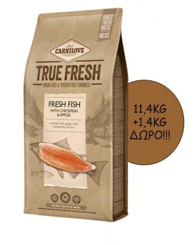 CARNILOVE TRUE FRESH ADULT FISH 11,4KG + 1,4KG ΔΩΡΟ!!!