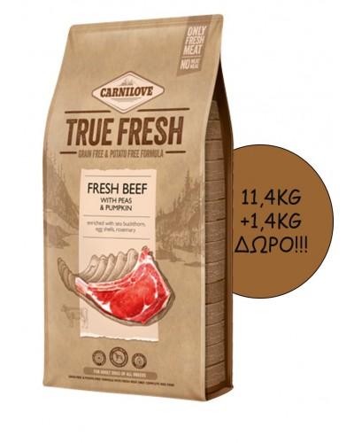 CARNILOVE TRUE FRESH ADULT BEEF 11,4KG + 1,4KG ΔΩΡΟ!!!