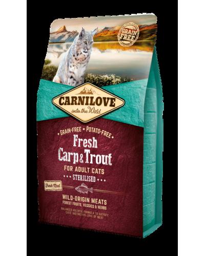 CARNILOVE FRESH ADULT CAT CARP & TROUT STERILISED 2KG (ΣΤΕΙΡΩΜΕΝΑ ΜΕ ΠΕΣΤΡΟΦΑ & ΚΥΠΡΙΝΟ)