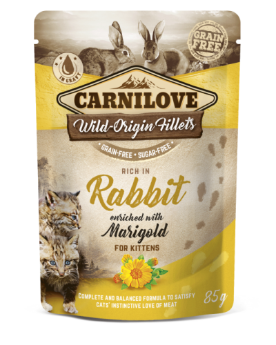 CARNILOVE POUCHES KITTEN RABBIT ENRICHED WITH MARIGOLD 85GR (ΓΙΑ ΓΑΤΑΚΙΑ ΜΕ ΚΟΥΝΕΛΙ & ΚΑΛΕΝΤΟΥΛΑ)