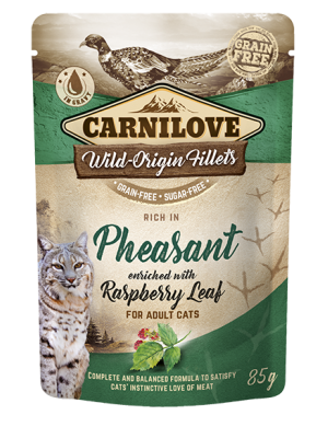 CARNILOVE POUCHES ADULT PHEASANT ENRICHED WITH RASPBERRY LEAF 85GR (ΓΙΑ ΕΝΗΛΙΚΕΣ ΓΑΤΕΣ ΜΕ ΦΑΣΙΑΝΟ)