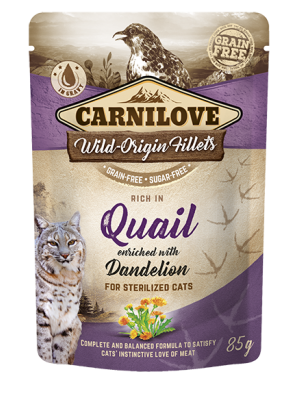 CARNILOVE POUCHES STERILISED QUAIL ENRICHED WITH DANDELION 85GR (ΓΙΑ ΣΤΕΙΡΩΜΕΝΕΣ ΓΑΤΕΣ ΜΕ ΟΡΤΥΚΙ & ΠΙΚΡΑΛΙΔΑ)