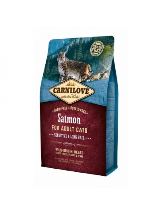 CARNILOVE ADULT CAT SALMON SENSITIVE & LONG HAIR 2KG (ΜΕ ΣΟΛΟΜΟ)