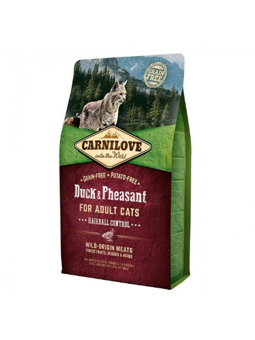 CARNILOVE ADULT CAT DUCK & PHEASANT HAIRBALL CONTROL 2KG (ΜΕ ΠΑΠΙΑ & ΦΑΣΙΑΝΟ ΚΑΤΑ ΤΩΝ ΤΡΙΧΟΜΠΑΛΩΝ)