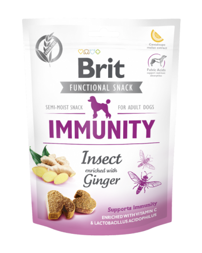 BRIT FUNCTIONAL SNACK IMMUNITY INSECT WITH GINGER 150GR (ΕΝΤΟΜΑ & ΤΖΙΝΤΖΕΡ)