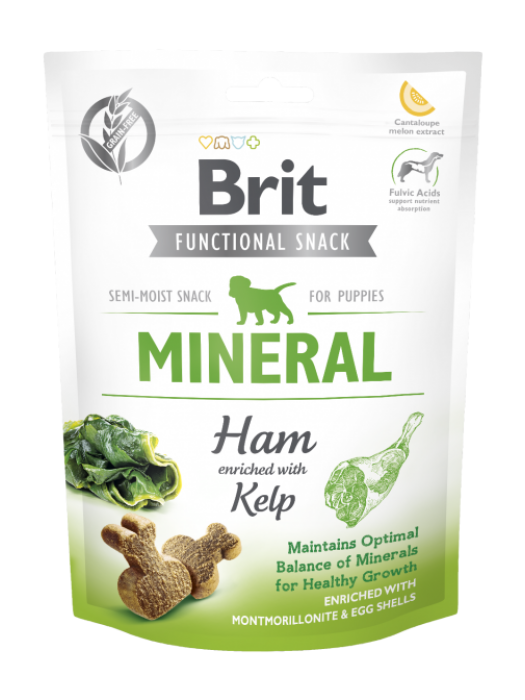 BRIT FUNCTIONAL SNACK PUPPIES MINERAL HAM WITH KELP 150GR (ΖΑΜΠΟΝ ΜΕ ΦΥΚΙ)