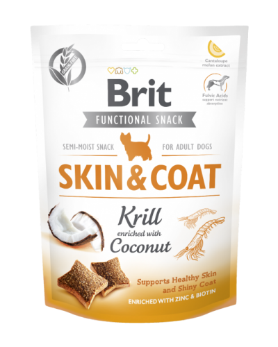 BRIT FUNCTIONAL SNACK SKIN & COAT KRILL WITH COCONUT 150GR (ΚΡΙΛ & ΚΑΡΥΔΑ)