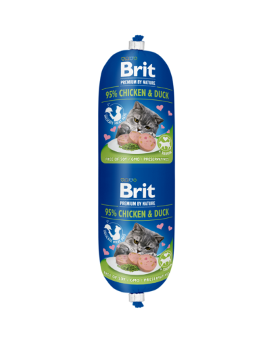 BRIT PREMIUM BY NATURE CAT SAUSAGE CHICKEN & DUCK 180GR (ΚΟΤΟΠΟΥΛΟ & ΠΑΠΙΑ)