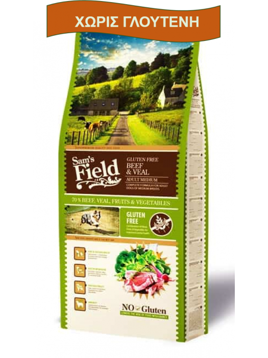 SAM'S FIELD ADULT MEDIUM BEEF & VEAL 13KG