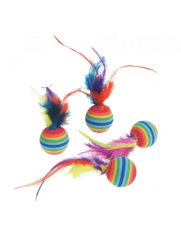 RAINBOW FOAM BALLS WITH FEATHER (4ΤΜΧ)