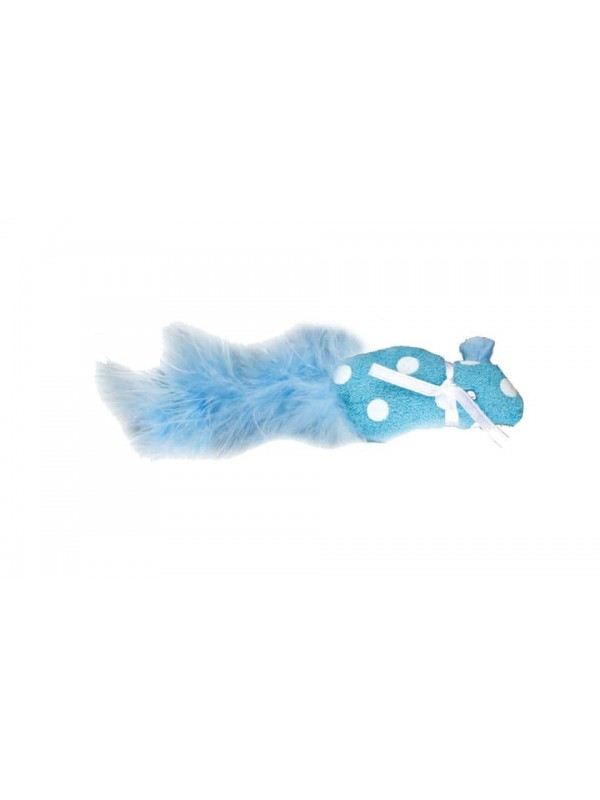 POLKA MOUSE WITH FEATHER 11CM